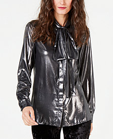 MICHAEL Michael Kors Foil-Coated Tie-Detail Shirt