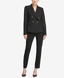 DKNY Double-Breasted Jacket, Skinny Pants & Scalloped Shell