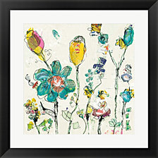 Doodle Garden Cream by Kellie Day Framed Art
