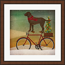 Brown Lab On Bike Christmas By Ryan Fowler Framed Art