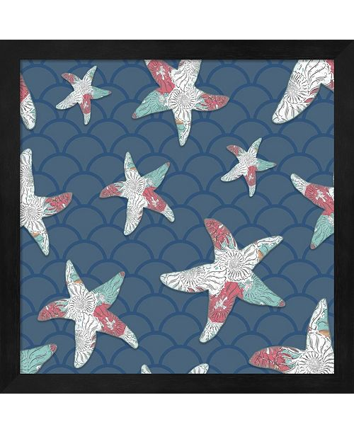 Metaverse Sea Side Boho Pattern - Starfish By Lightboxjournal Framed Art