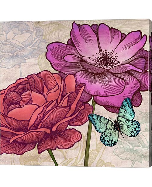 Metaverse Roses And Butterflies- Detail By Eve C. Grant Canvas Art