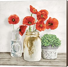 Floral Composition With Mason Jars Ii By Jenny Thomlinson Canvas Art