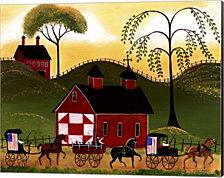 4th July Horse Wagon Parade by Cheryl Bartley Canvas Art