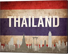 Bangkok, Thailand - Flags And Skyline By Take Me Away Canvas Art