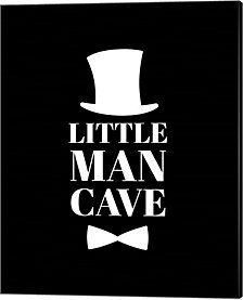 Little Man Cave Top Hat and Bow Tie - Black by Color Me Happy Canvas Art
