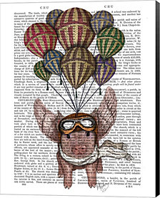 Pig And Balloons by Fab Funky Canvas Art