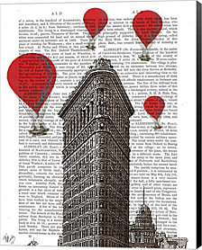 Flat Iron Building And Red Hot Air Balloons By Fab Funky Canvas Art