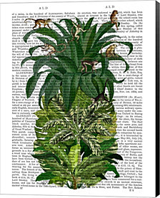 Pineapple, Monkeys By Fab Funky Canvas Art