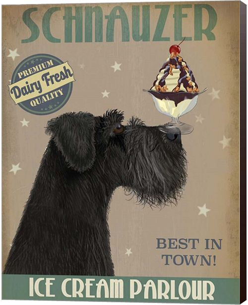 Metaverse Schnauzer, Black, Ice Cream By Fab Funky Canvas Art