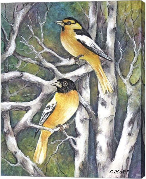 Metaverse Yellow Birds By Carol J Rupp Canvas Art