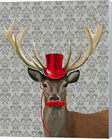 Deer With Red Hat And Moustache By Fab Funky Canvas Art