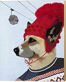 Dog in Ski Sweater by Fab Funky Canvas Art