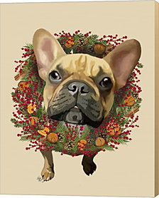 French Bulldog, Cranberry Wreath By Fab Funky Canvas Art