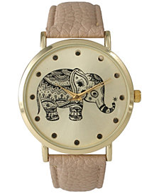 Artistic Elephant Leather Strap Watch