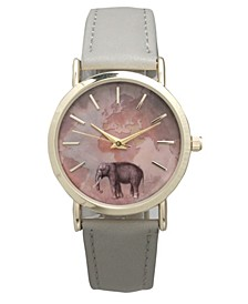 Elephant Map Leather Strap Watch