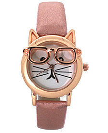 Geeky Cat Leather Strap Watch