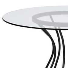 "Zurich Round Dining table:  In Black Finish And 48"" Glass Top"