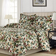 Lyon Microfiber Tropical Garden Printed Oversized King Quilt Set