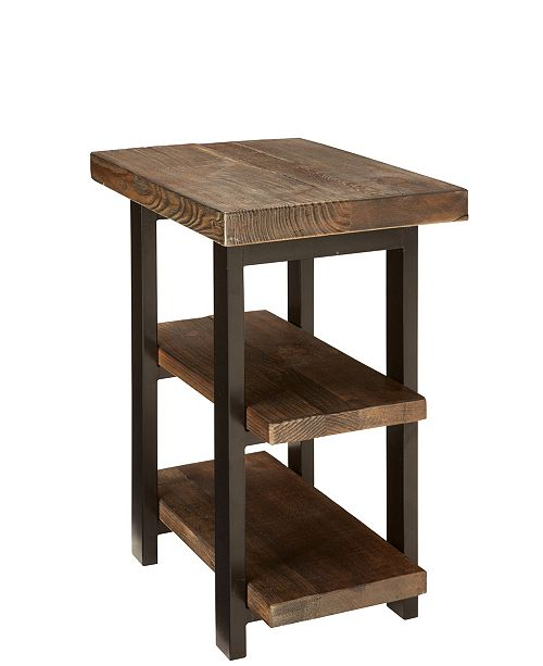 Alaterre Furniture Pomona Metal and Reclaimed Wood 2-Shelf End Table