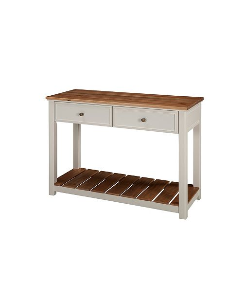 """Alaterre Furniture Savannah 40"""" W 2-Drawer Console Table, Ivory with Natural Wood Top"""