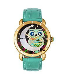 Quartz Ashley Collection Gold And Teal Leather Watch 38Mm