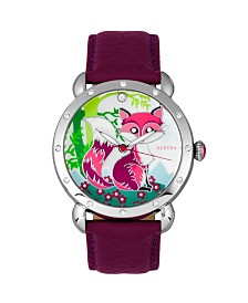 Bertha Quartz Vivica Collection Silver And Fuchsia Leather Watch 38Mm