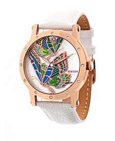 Bertha Quartz Isabella Collection Rose Gold And White Leather Watch 38Mm