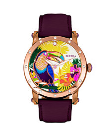 Bertha Quartz Gisele Collection Rose Gold And Plum Leather Watch 38Mm