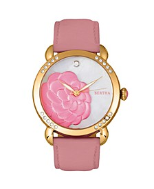 Quartz Daphne Collection Gold And Pink Leather Watch 38Mm