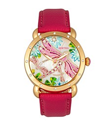 Quartz Jennifer Collection Gold And Pink Leather Watch 38Mm
