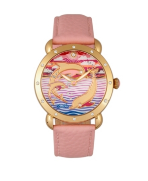 Quartz Estella Collection Gold And Pink Leather Watch 38Mm