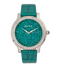 Quartz Cora Collection Teal Leather Watch 40Mm