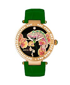 Bertha Quartz Camilla Collection Green Leather Watch 38Mm