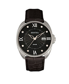 Bertha Quartz Amelia Collection Black Leather Watch 38Mm