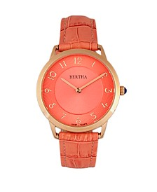 Bertha Quartz Abby Collection Rose Gold And Coral Leather Watch 33Mm