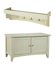 Shaker Cottage Tray Shelf Coat Hook with Cabinet Bench