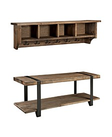 "Modesto 48"" Metal and Reclaimed Wood Wall Coat Hook with Bench"