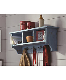 Country Cottage Coat Hook with Storage Cubbies, Blue Antique Finish