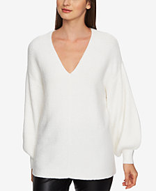1.STATE V-Neck Bubble-Sleeve Sweater