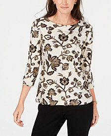 JM Collection Metallic 3/4-Sleeve Top, Created for Macy's