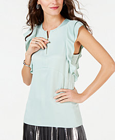 MICHAEL Michael Kors Ruffled Zip-Up Top