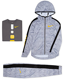 Nike Toddler Boys Elite Therma Zip-Up Hoodie, Gradient Elite T-Shirt & Elite Stripe Pants