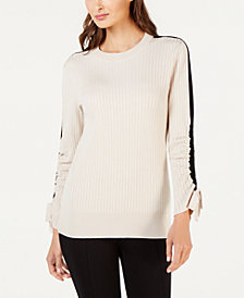 Alfani Ribbed Striped Sweater, Created for Macy's