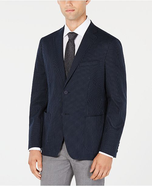 Calvin Klein Men's Slim-Fit Stretch Midnight Navy Stripe Sport Coat