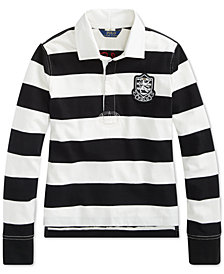 Polo Ralph Lauren Big Girls Striped Jersey Rugby Cotton Rugby Shirt