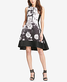 DKNY Graphic-Print Scuba Fit & Flare Dress, Created for Macy's