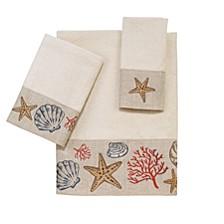 Sea Treasure Embroidered Fingertip Towel