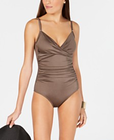 Calvin Klein Printed Twist-Front Tummy-Control One-Piece Swimsuit, Created For Macy's