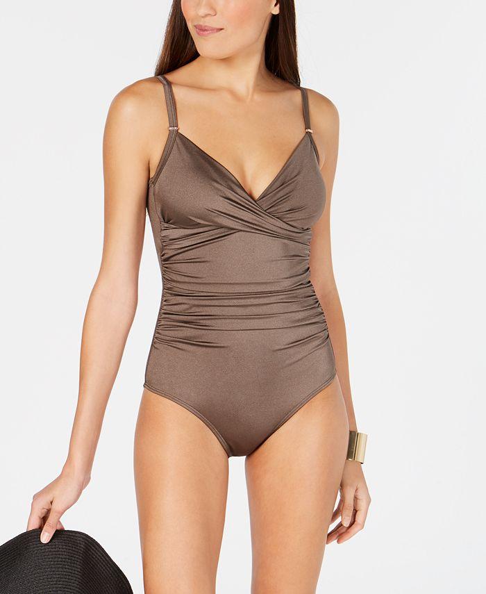 Calvin Klein - Printed Twist-Front Tummy-Control One-Piece Swimsuit